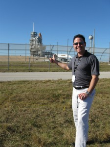 That's me at Launch Pad 39A. The space shuttle Atlantis is behind me.